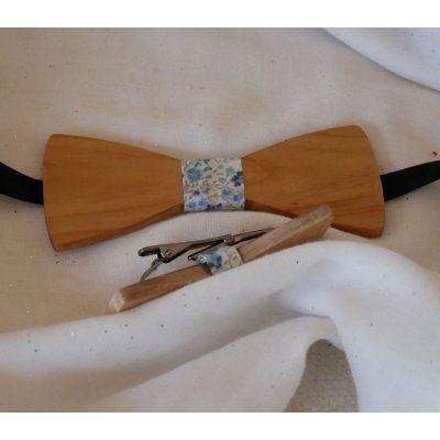 Barrette en bois Noeud pap avec ruban Liberty et bois personnalisable