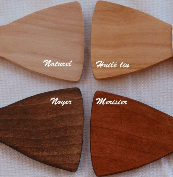 Barrette en bois Noeud pap miniature avec ruban personnalisable