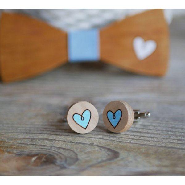 Boutons de manchette bois aux coeurs peints