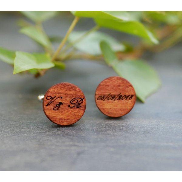 Boutons manchette en bois Merisier ronds à graver