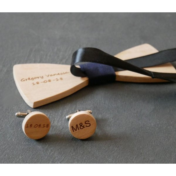 Boutons manchette en bois rond à personnaliser