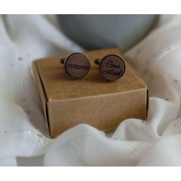 Boutons de manchette bois serti bronze vieilli 16 mm personnalisable