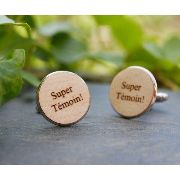 Boutons de manchette cabochon en bois fin 20mm personnalisable