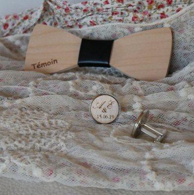 Boutons de manchette cabochon en bois serti personnalisable