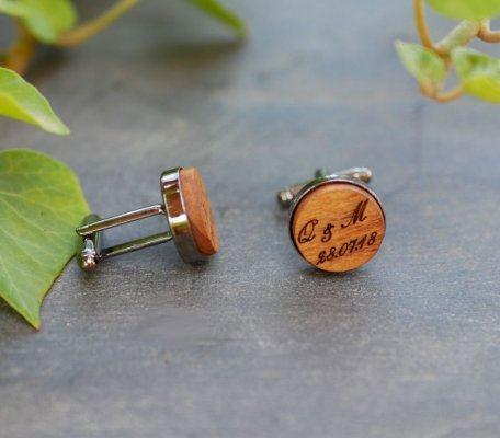 Boutons de manchette métal et bois merisier personnalisable