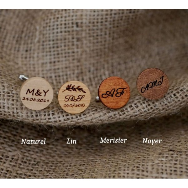 Boutons de manchette sertis argentés en bois gravé 4 tailles au choix