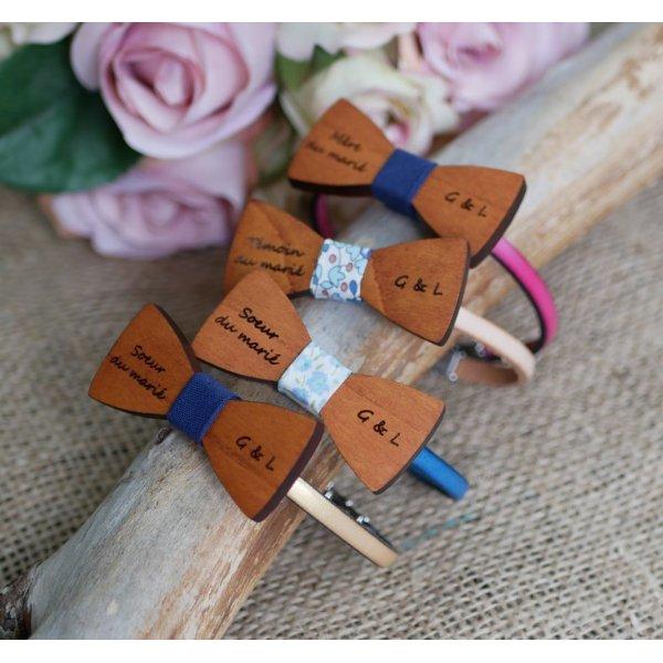 Bracelet cuir au noeud papillon miniature en bois personnalisable