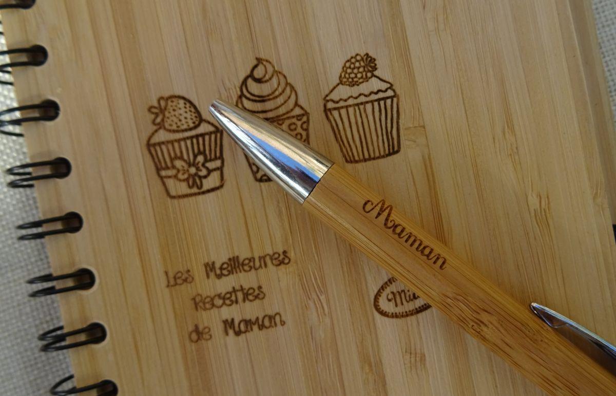Carnet en bois Recettes de cuisine à personnaliser