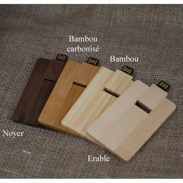 Carte en bois de noyer avec clé USB 32 Go à personnaliser par gravure