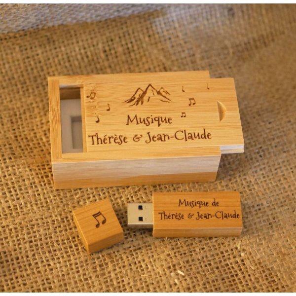 Clé Usb 3.0 32 Go dans coffret bois bambou à personnaliser par gravure