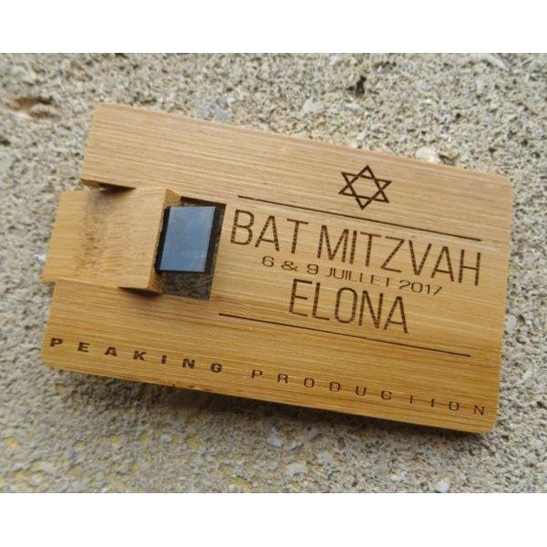 Clé USB 32 Go Carte en bois bambou carbonisé à personnaliser par gravure