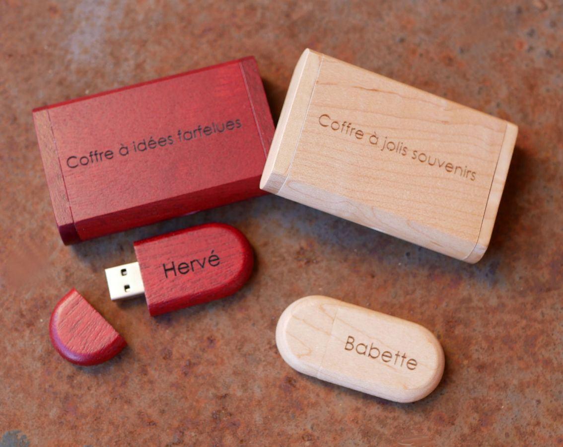 Clé Usb 32 Go 3.0 bois rouge dans coffret à personnaliser par gravure