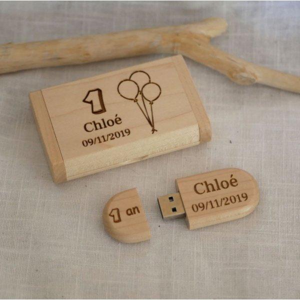 Clé Usb 64 Go 3.0 dans coffret personnalisé bois clair d'érable