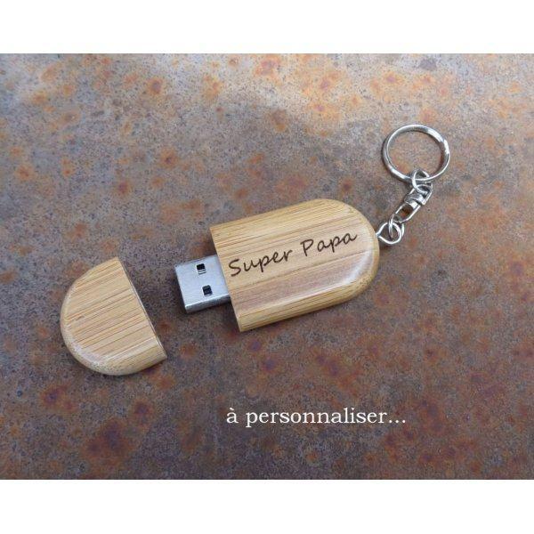 Clé USB bambou en porte clef à graver