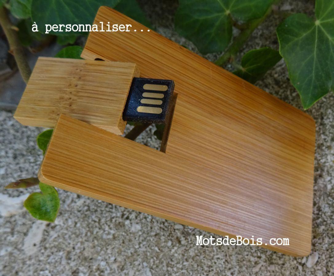 Clé USB carte en bambou à personnaliser par gravure