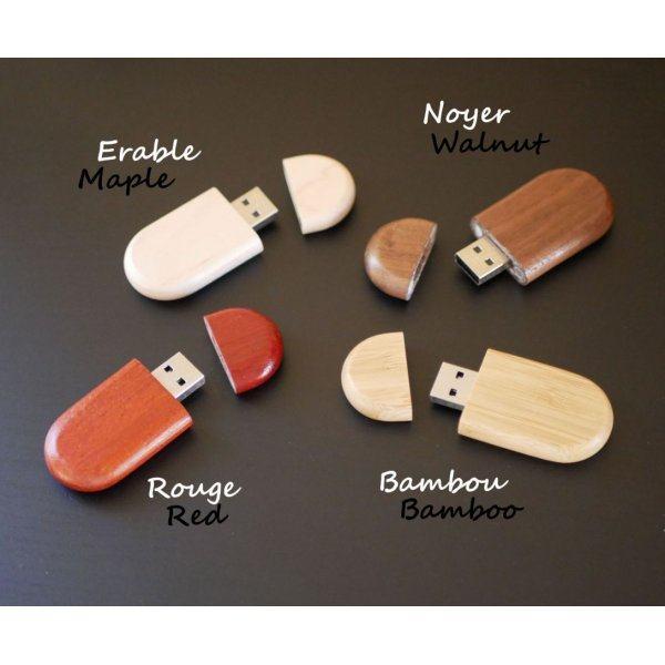Clé USB ovale à personnaliser par gravure, bois au choix