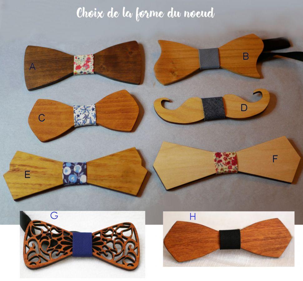 Ensemble Noeud en bois Pochette Broche papillon Liberty