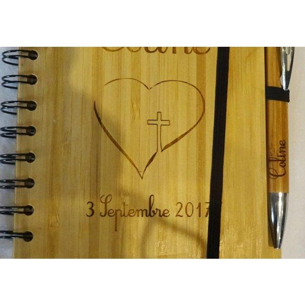 Livre d'or en bois pour baptême ou cérémonie religieuse