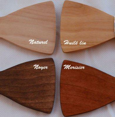 Noeud papillon assymétrique en bois Noyer à personnaliser Made in France