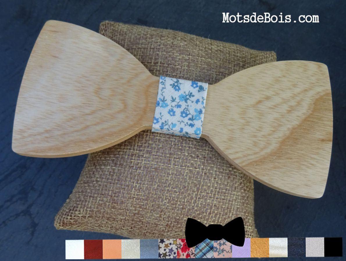 Noeud papillon en bois clair ruban au choix à graver