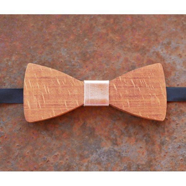 Noeud papillon en bois Hêtre ruban en cuir métallisé cuivré à personnaliser par gravure