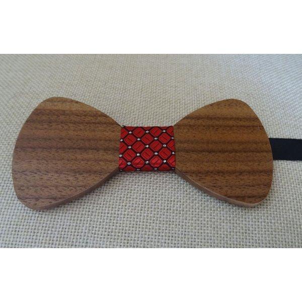 Noeud papillon en bois Noyer ruban rouge