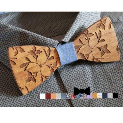 Noeud papillon en bois noyer gravé de grandes fleurs