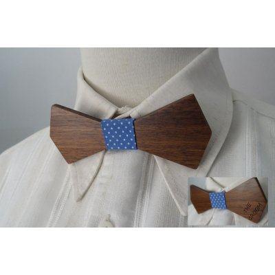 Noeud papillon en bois Noyer ruban Bleu  à personnaliser