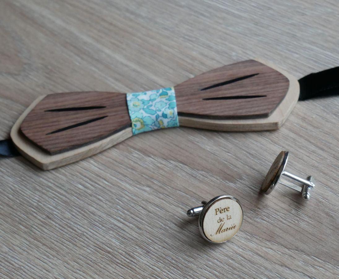 Noeud papillon en bois Palissandre et Merisier naturels à personnaliser