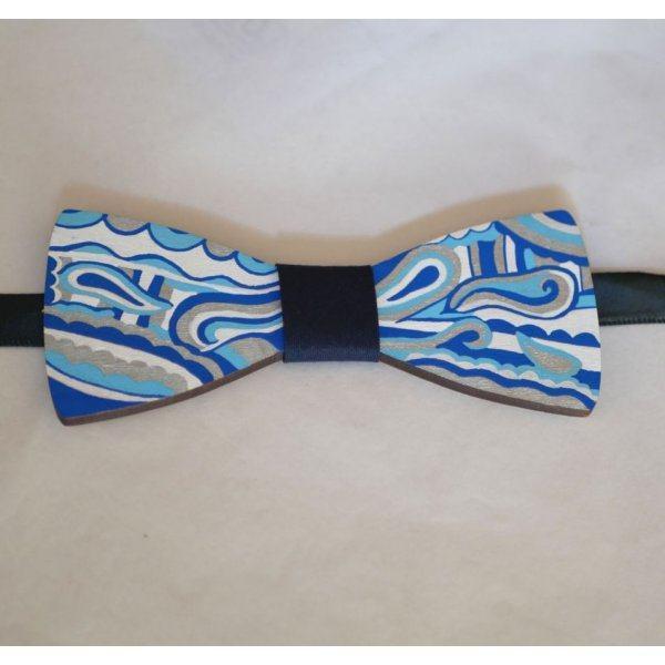 Noeud papillon en bois peint Hippie chic bleu argent, une création artisanale unique