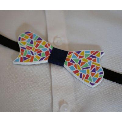 Noeud papillon en bois peint mosaïque multicolore
