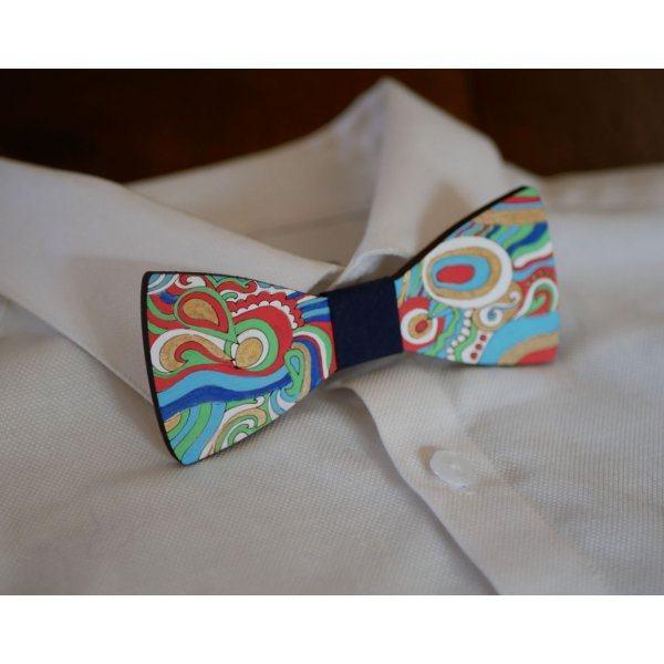 Noeud papillon en bois peint Hippie chic création artisanale unique