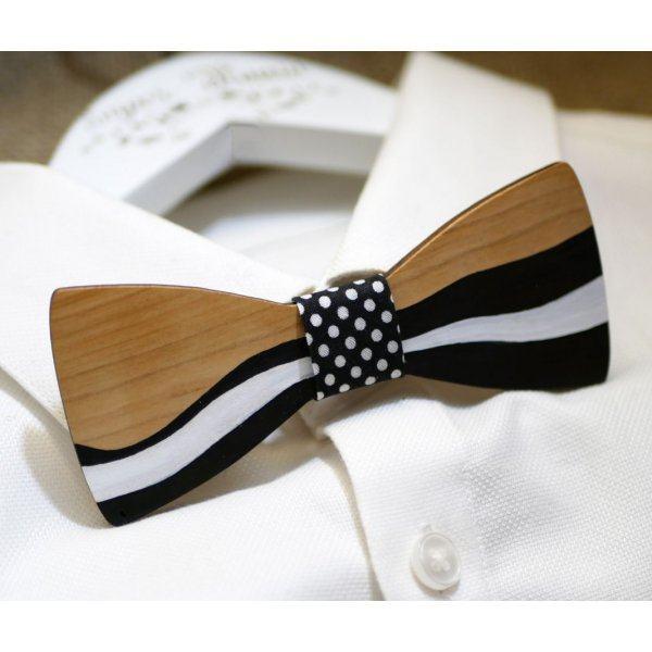 Noeud papillon en bois peint façon ruban noir et blanc