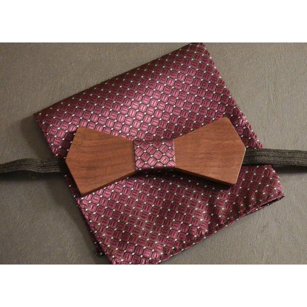 Noeud papillon en bois avec pochette assortie Violet