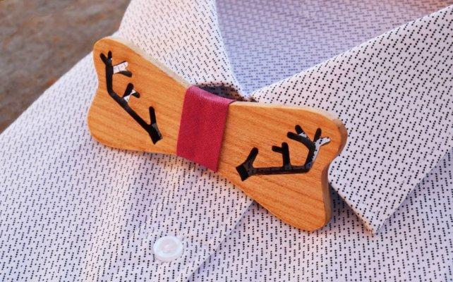 Noeud papillon bois de renne à personnaliser