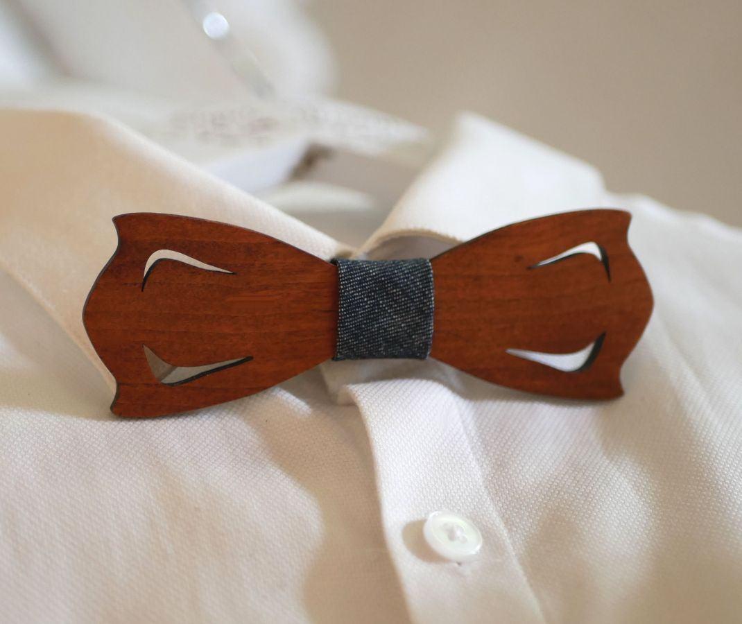 Noeud papillon en bois ruban en trompe l'oeil à personnaliser