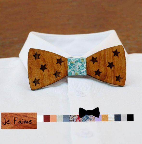 Noeud papillon en bois à étoiles à personnaliser