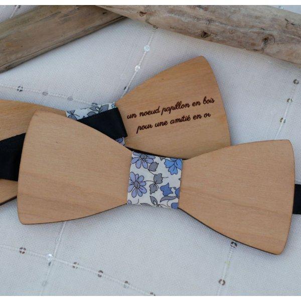 Noeud papillon bords droits bois naturel français à personnaliser par gravure