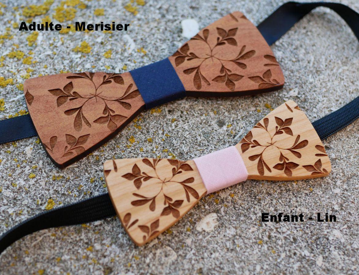 Noeud papillon enfant en bois gravé de fleurs à personnaliser assorti au modèle homme