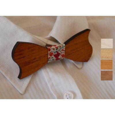 Noeud papillon enfant en bois merisier assymétrique à personnaliser