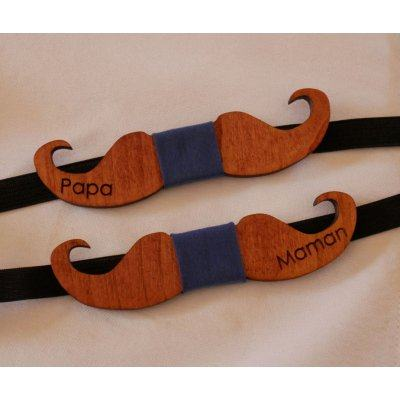 Noeud papillon enfant Moustaches en bois à personnaliser