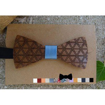 Noeud papillon homme bois gravé de triangles géométriques