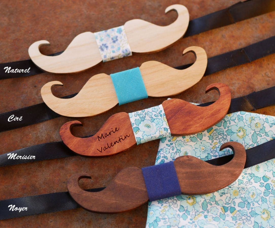 Noeud papillon Mini Moustaches en bois à personnaliser