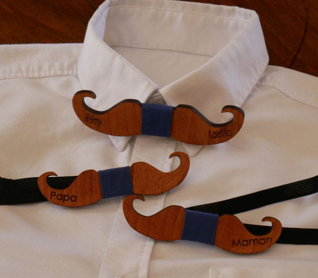 Noeud papillon Moustache en bois teinté à personnaliser