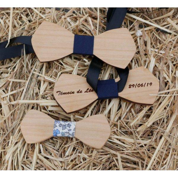 """Noeud papillon bois naturel à personnaliser par gravure """"le rablé"""""""