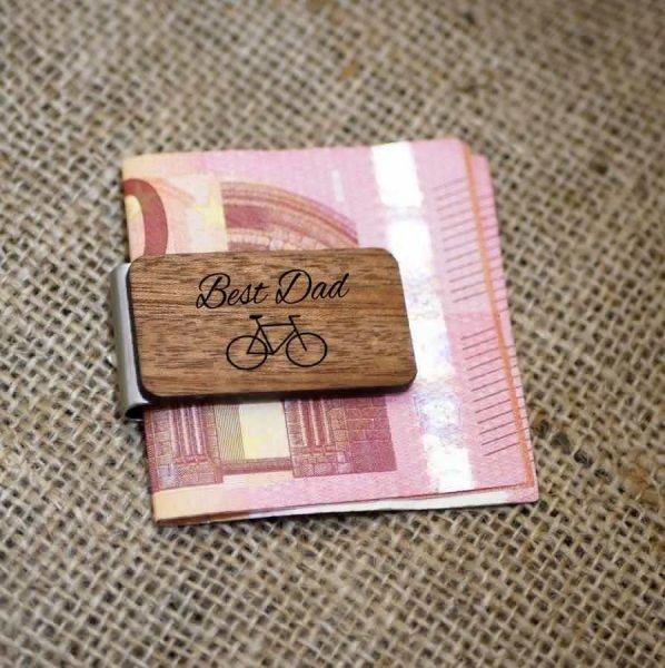 Pince à billets en bois gravé à personnaliser