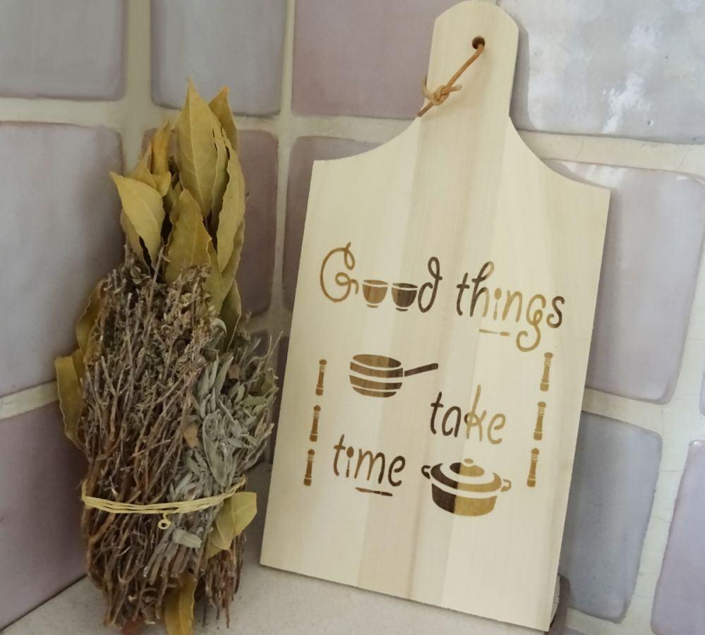 Planche à découper en bois cuisine gravée