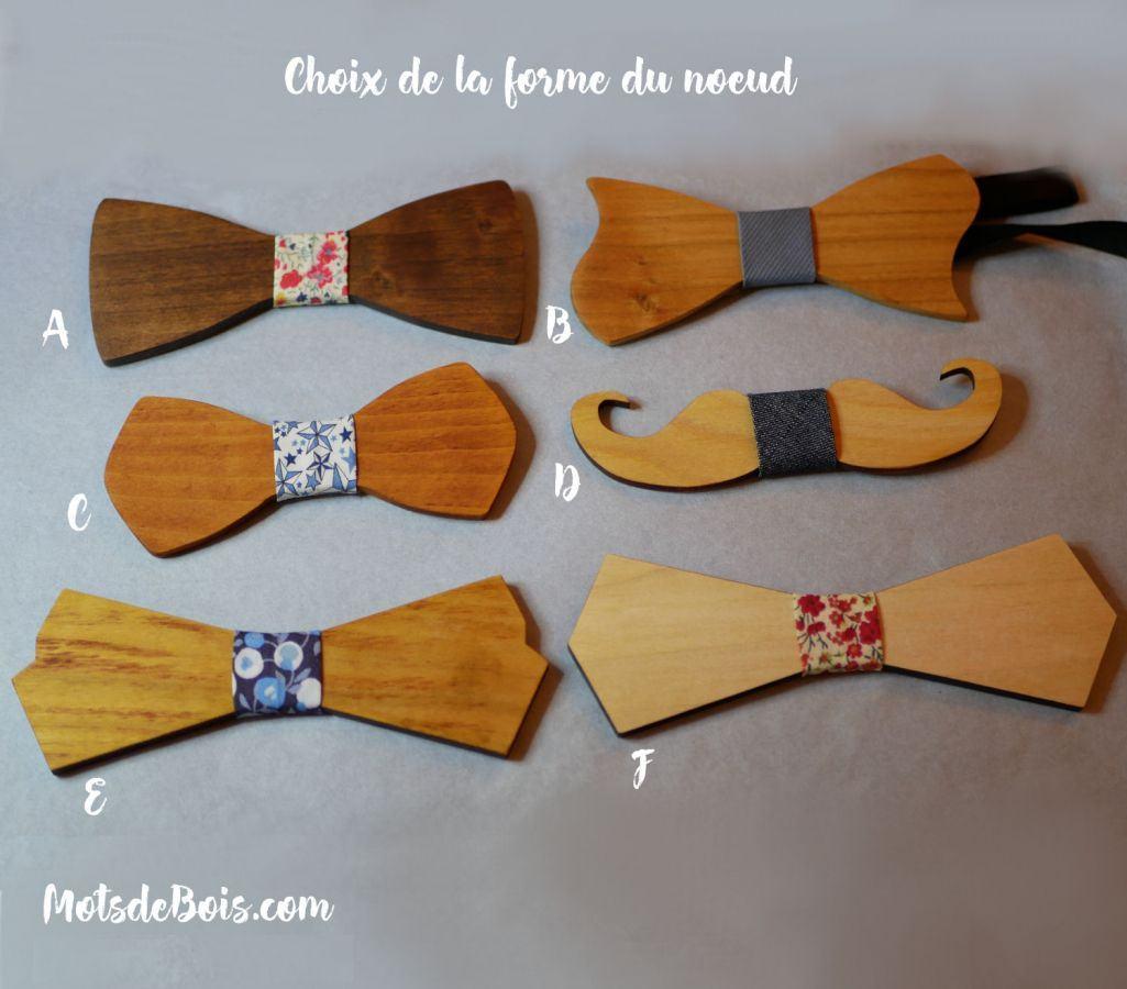 Pochette Liberty Mickael et noeud papillon en bois personnalisable