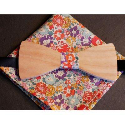 Pochette Liberty et noeud papillon en bois personnalisable