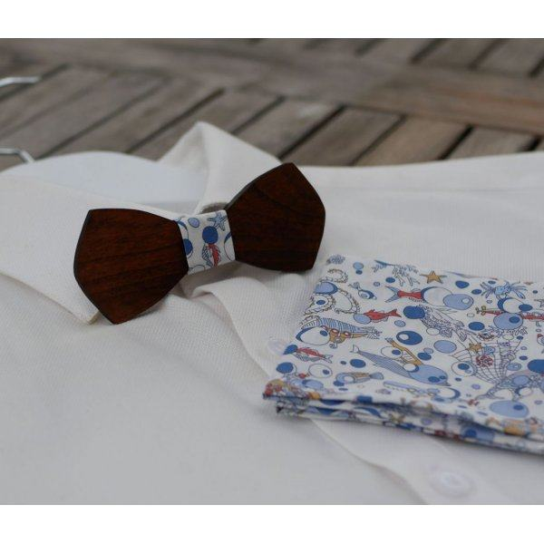 Pochette Liberty Ocean marin noeud papillon en bois personnalisable